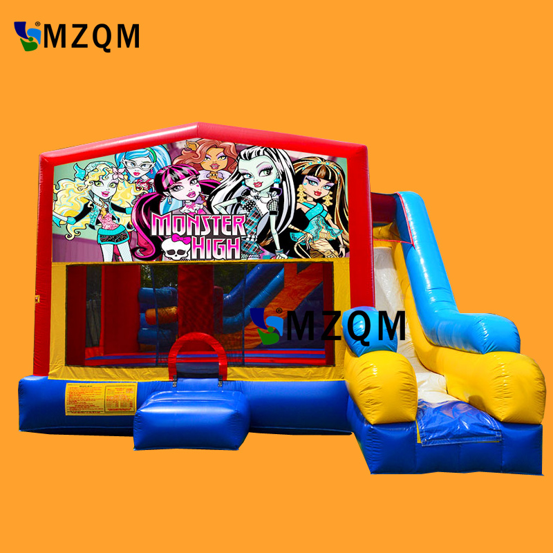 2017 New style MZQM commercial inflatable bouncer slide size L5XW5XH3.5m inflatable bouncer castle free blower commercial amusement inflatable wet slide for water games