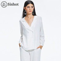 Sishot Women Office Blouse 2017 Summer Autumn Brief White Notched Lapel Black Button Double Breasted Straight