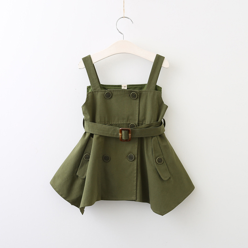 Hurave Military Sashes dresses Double-breasted Suspenders sundress camis baby girls clothes lasted pocket kids clothing цена