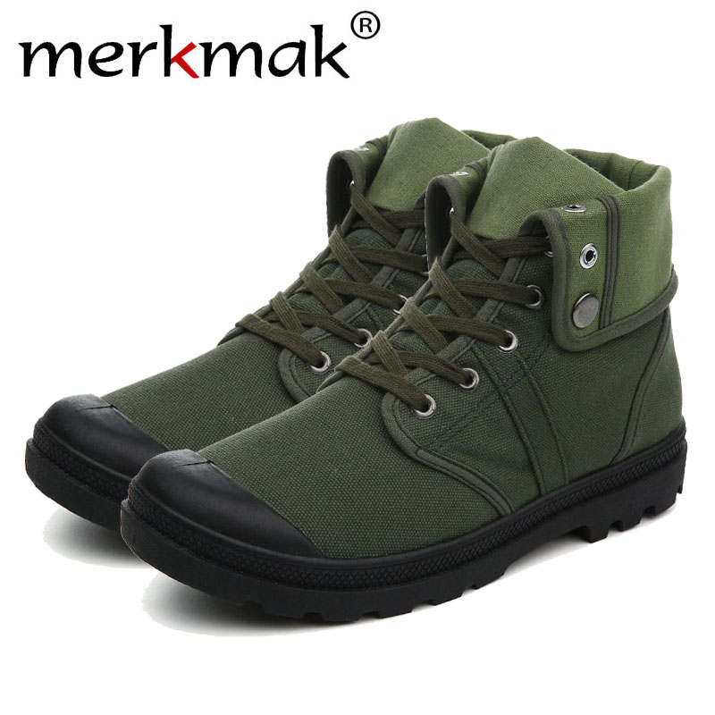 Merkmak Canvas Shoes Men Boots Leisure High Top Ankle for Male Flats Footwear Casual Spring Autumn