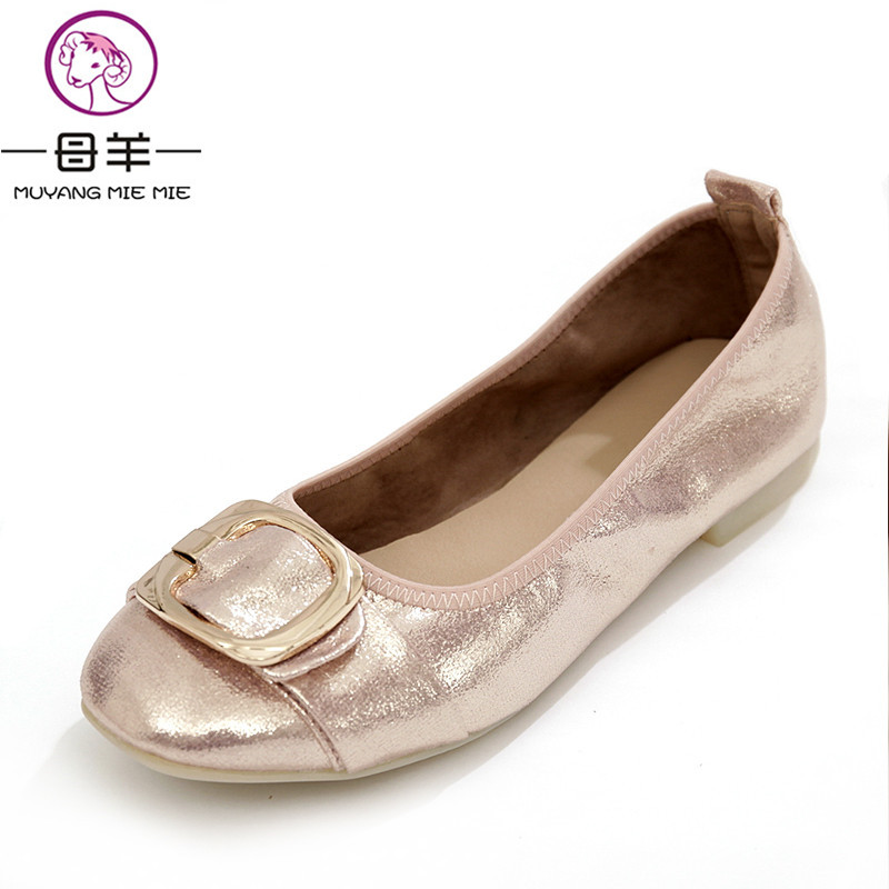 MUYANG MIE MIE Plus Size (34-42) Women Shoes Female Round Toe Soft Outsole Single Flat Shoes Woman Work Shoes Women flats vintage embroidery women flats chinese floral canvas embroidered shoes national old beijing cloth single dance soft flats