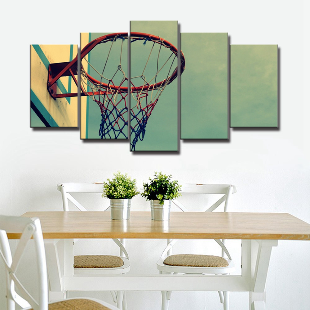 Vintage Home Decoration Retro Basketball Hoop Landscape Art Sport Canvas Painting for Living Room Wall Art Children Room Decor