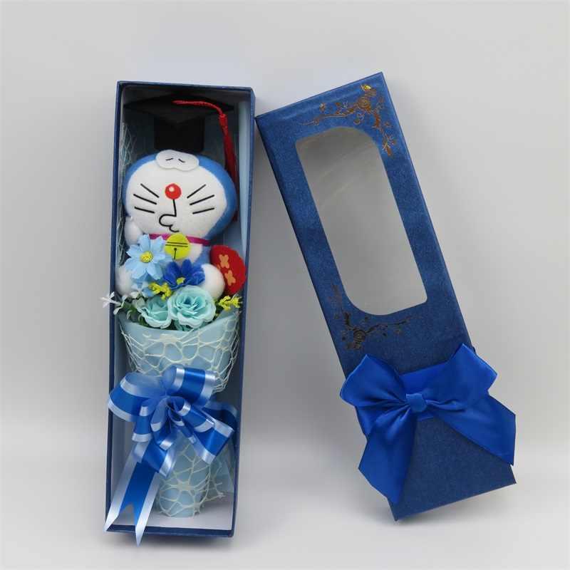 Ручной работы стежка кошка Дораэмон плюшевые игрушки Doctorial шляпа маленький букет, домашнее украшение творческие подарки на выпускной