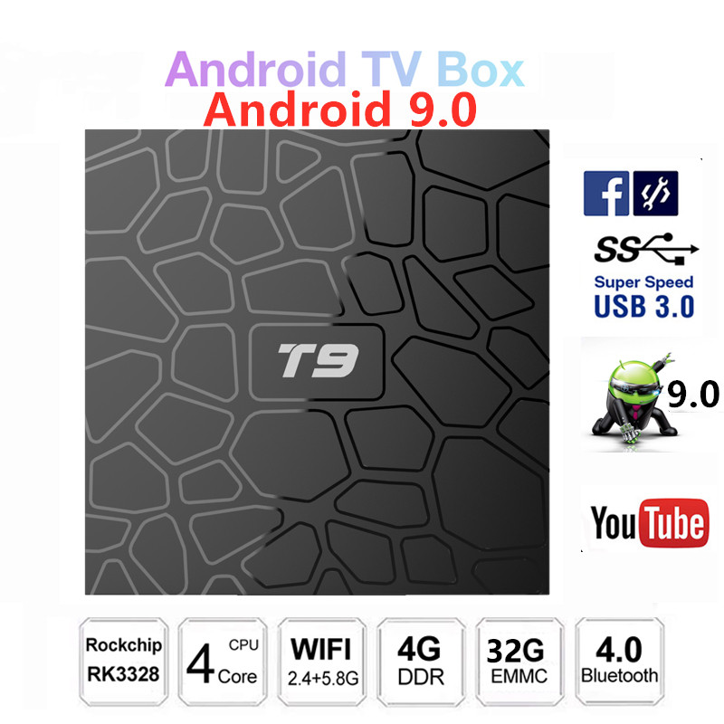 T9 4GB RAM 32GB ROM RK3318 Quad Core CPU intelligent Android 9.0 TV BOX bluetooth oth4.0 H.265 4K 2.4GHz WIFI décodeur lecteur multimédia
