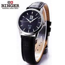 Новый 2016 Роскошный Подарок Бингер Часы Платье Женщины Черный Кожаный Часы Марки Кварцевые Часы Молодая Час Женщина ультратонкий наручные часы