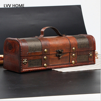 LVV HOME red wine wooden storage box/retro and made leather stitching ingle bottle wine box gift boxes