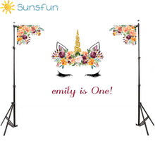 Buy Sunsfun Unicorn Photography Backdrops Floral Baby Shower Photo Background for Birthday Party Decorate Pictures directly from merchant!