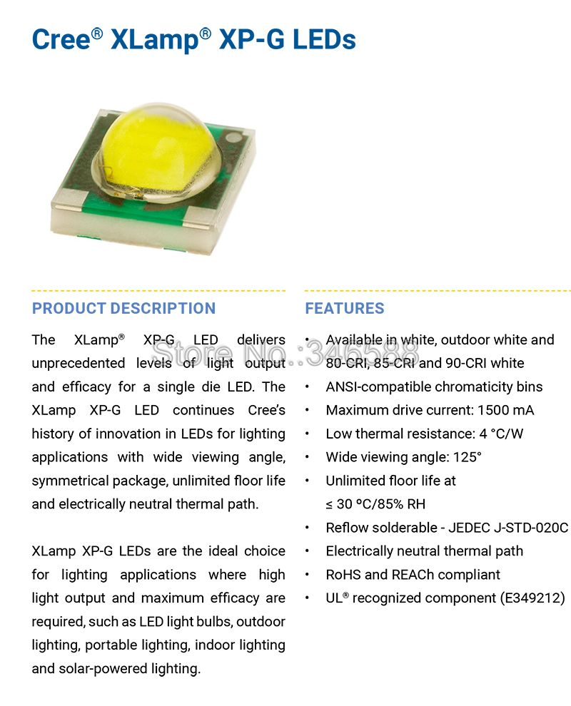 5 Piezas W Cree Xpg Xp G Alta Potencia Led Emisor Chip En 8mm Ic 78141 La78141 Asli 7pin Cantidad Piezaspotencia 1 Wcolor Emitido Blanco Wram Neutrotensin Directa Dc Vf 32vdc 34vdccorriente If
