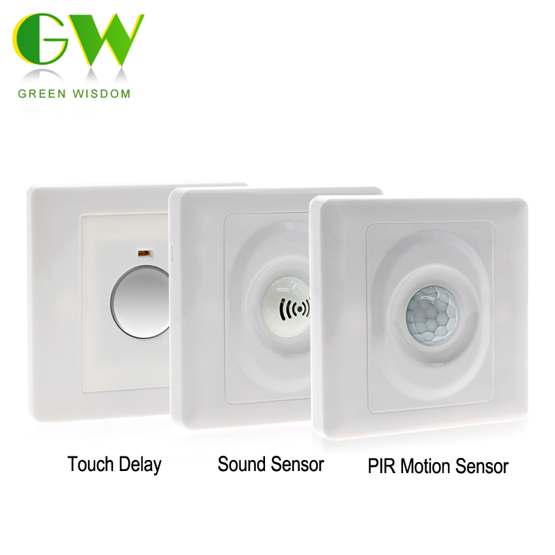 Wall Touch Delay Sensor Induction Switch/Sound Control Smart Switch/Human Body PIR Infrared Motion Sensor Switch For Lamp Bulbs 3d vivid garden path door wallpaper diy mural bedroom living room wall stickers home decor poster pvc waterproof 77x200cm