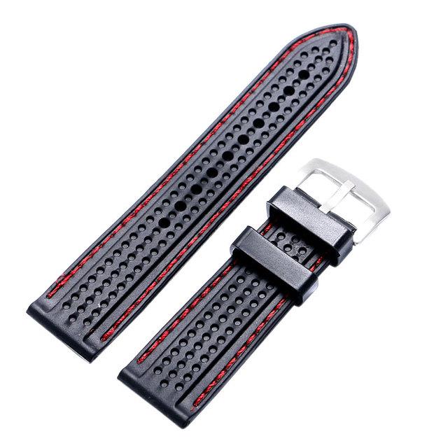 22/24 milímetros 10 pçs/lote Alta Qualidade Pulseiras de Relógio Watch Strap Banda de Silicone Preta + Barras de Molas