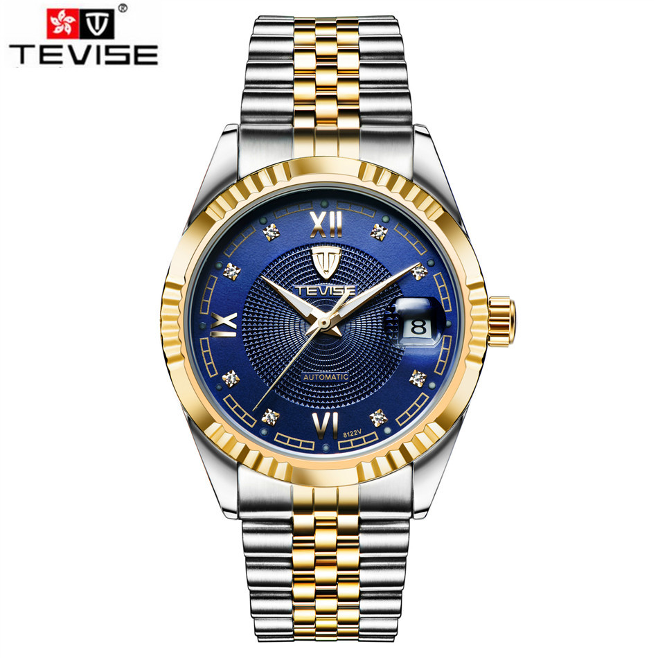 Tevise 2017 New Orologio Uomo Deportivos Men's Roman Number Crystal Day Watches Auto Mechanical Watches Xmas Gift Box Free Ship tevise fashion orologio uomo men s mult functional day week auto mechanical pu leather strap watches xmas gift box free ship