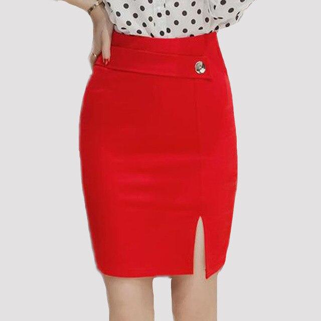 670292994d08a Más tamaño mujeres Faldas alta cintura moda lápiz falda casual bodycon falda  elegante formal estiramiento telas
