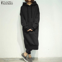 2017 Winter ZANZEA Women Long Sweatshirt Dress Long Sleeve Fleece Lined Casual Loose Split Hem Hooded