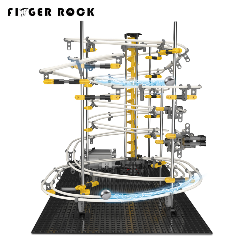 Finger Rock Level 3 Roller Coaster Model Building Kits Toys Maze Marble Run Game Racing Space Rail Rolling Metal Ball For Kid