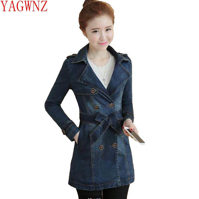 Spring Coat Women's Windbreakers Female Plus-Size Fashion Blue Slim High-Quality