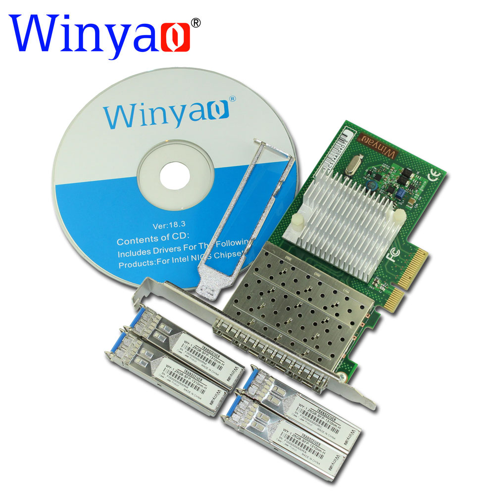 Winyao WYI350LX4 PCI-E X4 Quad Port Gigabit Ethernet Lan Fiber Server network card(1310nm) For I350-F4 1000Mbps Nic(LC LX) winyao wy576 f1 pci e x4 gigabit fiber server network card adapter green