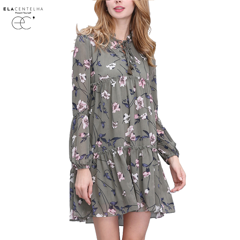 ElaCentelha Women Summer Autumn Dress Tops Print Floral Woman Dress Ethnic Plus Size Loose Bandage Boho