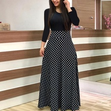 цена на Summer Dress Flower Print Colorblock Maxi Dress High Waist Long Dresses Long Sleeve Women