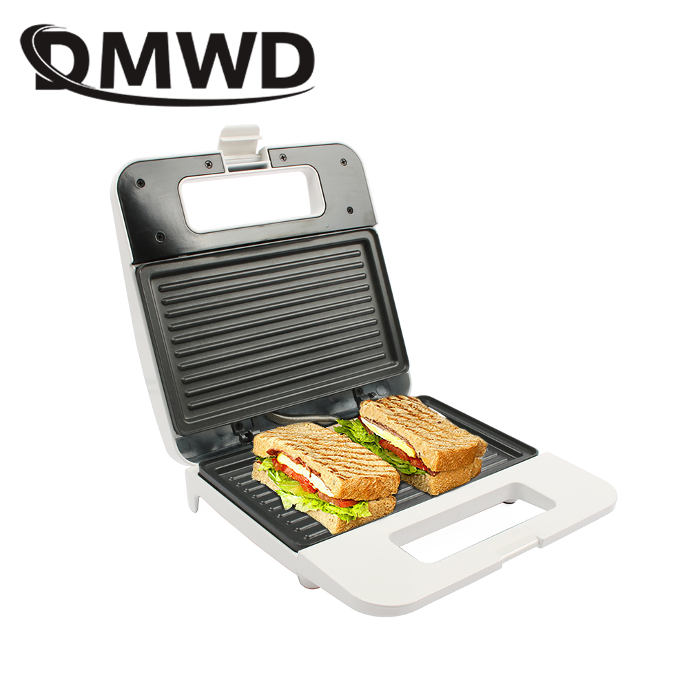 DMWD Electric Egg Sandwich Maker Mini Grilling Panini Baking Plates Toaster Multifunction Non-Stick Waffle Breakfast Machine EU