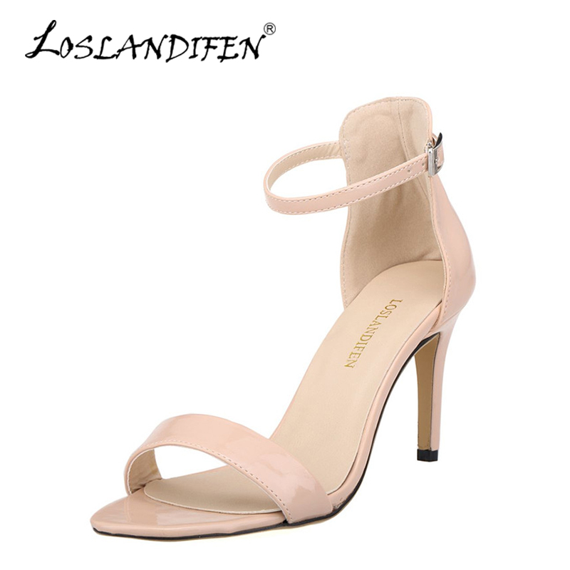 LOSLANDIFEN Buckle Women Sandals Nude Patent Leather High Heels Shoes Woman Ankle Strap Summer Dress Shoes Lady Open Toe Sandals red patent leather strappy sandals cut out ankle strap buckle high heel shoes peep toe cage shoes women summer dress shoes