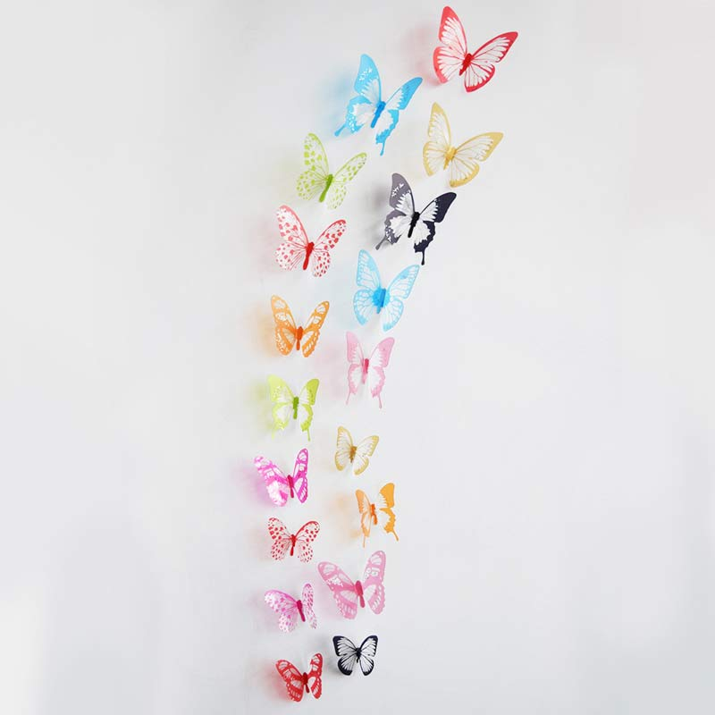 18Pcs/Set Colorful Creative 3D Crystal Butterfly Wall Sticker For Home Wedding Party DIY Decor Art Decal Xmas Wedding Decor Gift