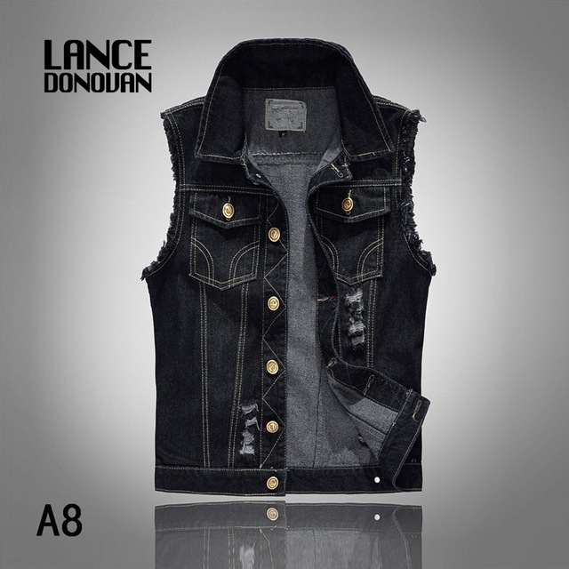 3 MODELS Plus Size M-6XL New Fashion Mens Denim Vest Vintage Sleeveless Jeans Waistcoat Man Cowboy Ripped Slim Men's Clothing