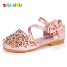 Children shoes sequins shoes girls spring summer new fashion bow kids princess shoes for girls sandals non-slip soft comfortable in the spring of the new brand princess girls shoes shoes fashion bud children shoes