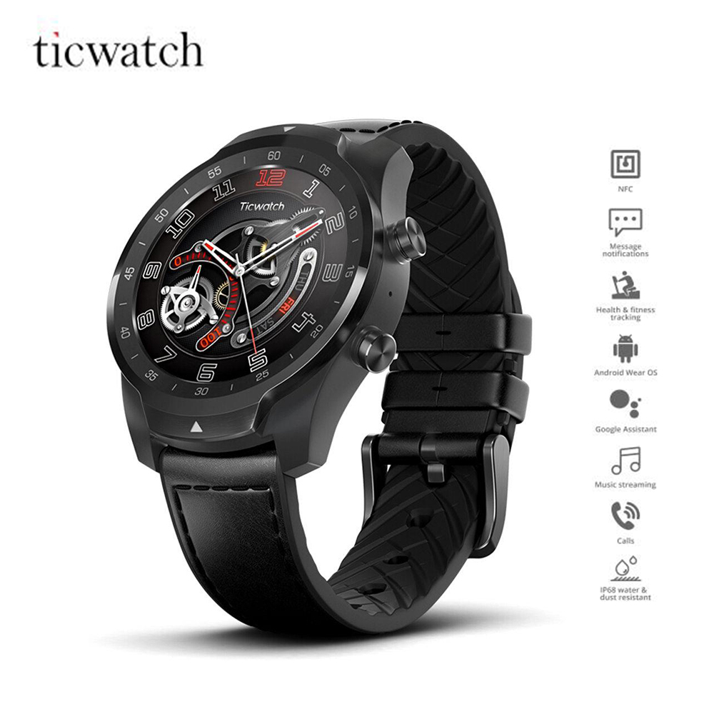 Version internationale Ticwatch PRO montre intelligente 1.4 pouces O LED/LED Double écran moniteur de fréquence cardiaque IP68 intégré GPS Google Pay