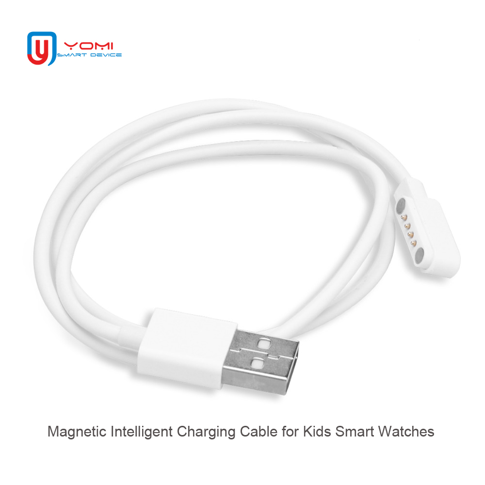 4 Pin Pogo Magnet Cable for Kids Smart Watch Charging Cable USB 2.0 Charge Cable for Q100 Q750S T88 A20 A20S TD05 V6G Magnetic practical 1m magnetic charging smart led luminous cable