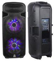 STARAUDIO Pro Dual 15 4500W Powered Speaker W RGB LED Light USB SD FM BT