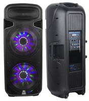 STARAUDIO Pro Dual 15 4500W PA DJ Active Powered USB SD FM BT Speaker W/ LED Light Wireless Microphones SDM 15RGB
