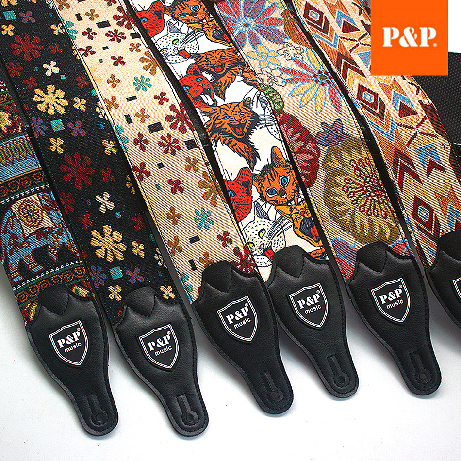P&P Adjustable Embroidered Cotton Guitar Strap Widening and Thickening for Electric Acoustic Guitar Bass Belt
