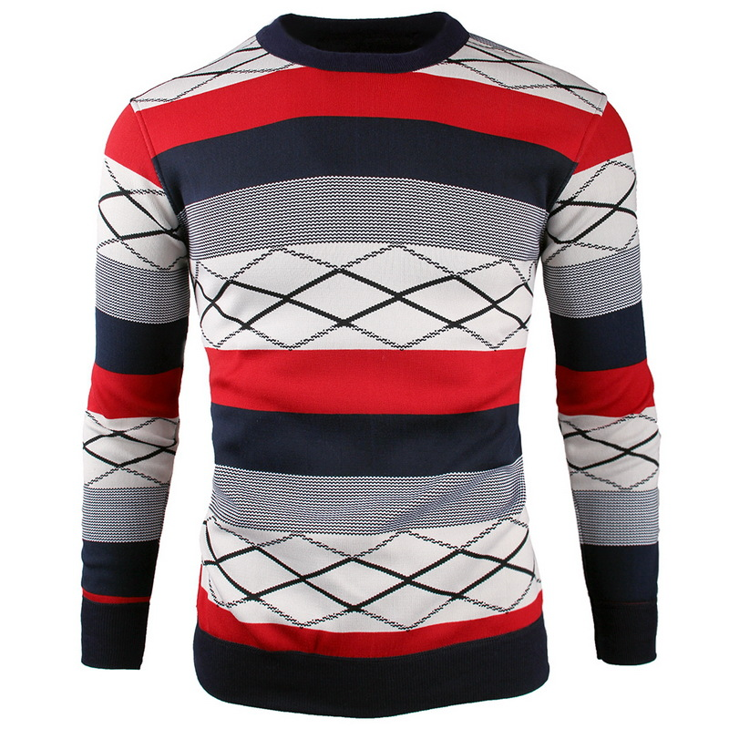Spring Autumn Sweaters 2017 New Sweaters Men Fashion Autumn Patchwork Knitted Pullover Men O-Neck Casual Men Sweater XXXL