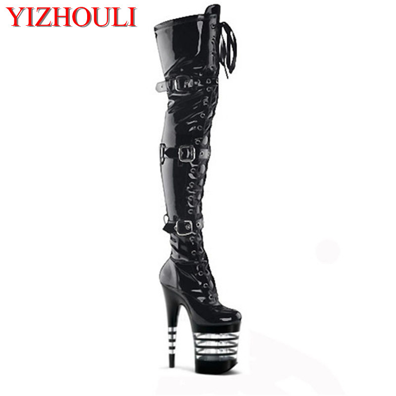 Sexy Thigh High Boots 6-8 Inch High Heels Fashion Platform Womens Over The Knee Boots 17-20cm High-Heeled Boots Pipe Dance BootsSexy Thigh High Boots 6-8 Inch High Heels Fashion Platform Womens Over The Knee Boots 17-20cm High-Heeled Boots Pipe Dance Boots