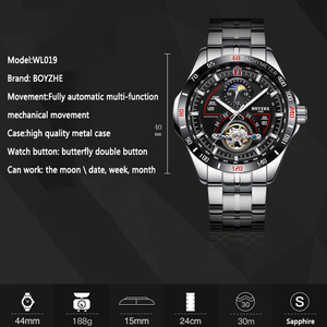 Image 2 - BOYZHE Mens Automatic Mechanical Fashion Top Brand Sports Watches Luxury Tourbillon Moon Phase Stainless Steel Watch Clock saat