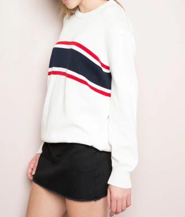 HTB1X 6OSpXXXXXcXVXXq6xXFXXXH - Striped Splicing wild loose sweater Womens soft pullovers PTC 73