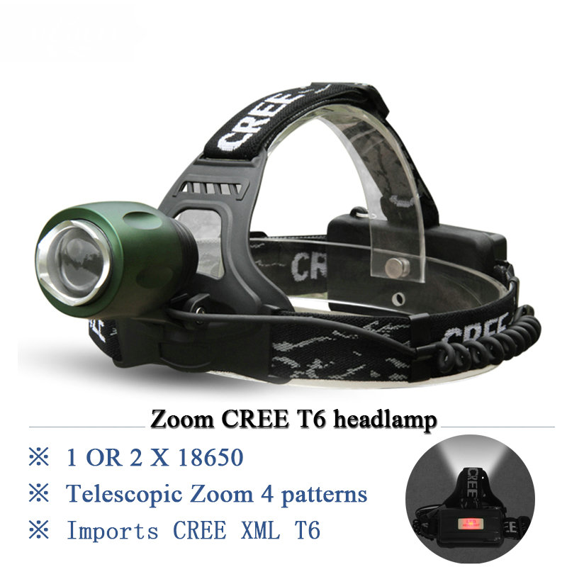 Portable Lighting Zoom cree xml t6 headlight torch led headlamp head lamp 18650 Rechargeable Battery bike camping fishing mining