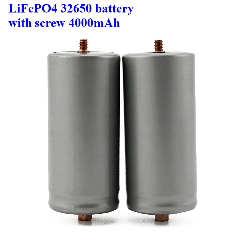 2pcs a lot screws LiFePO4 battery 32650 4000mAh rechargeable lithium ion cell for Electric bike-in Rechargeable Batteries from Consumer Electronics