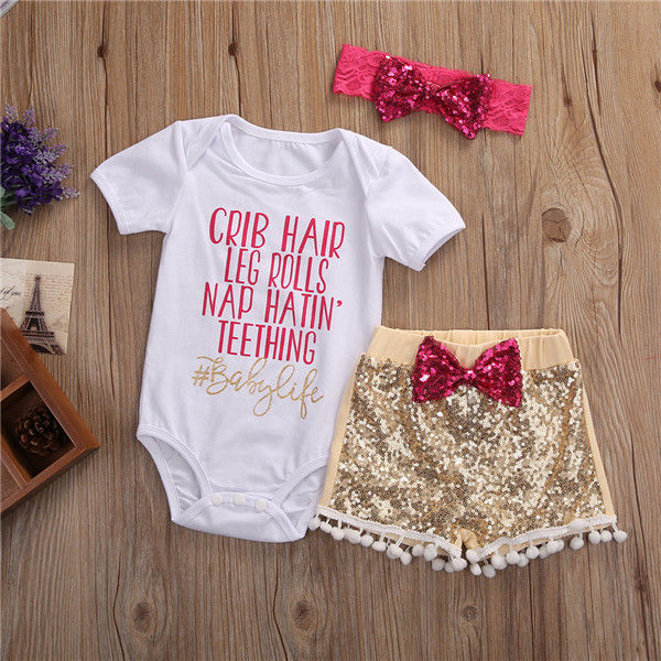 d2d48b908 Summer Newborn Baby Girl Clothes Set Short Sleeve Tops Romper Sequin Pants  Headband 3Pcs Outfits Set Cute Baby Girls Clothes-in Clothing Sets from  Mother ...