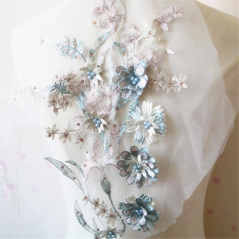 2Pcs Ice Blue Beaded Hot drilling Embroidery Flower Lace Applique Sewing Lace Trims Applique DIY Craft 34X26cm BD0588