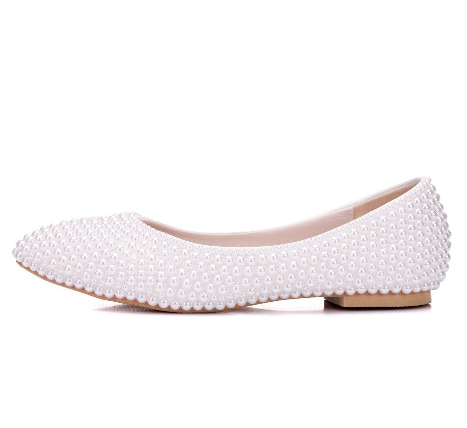 alta calidad blanco perla plana zapatos de novia zapatos de boda de perlas a mano las