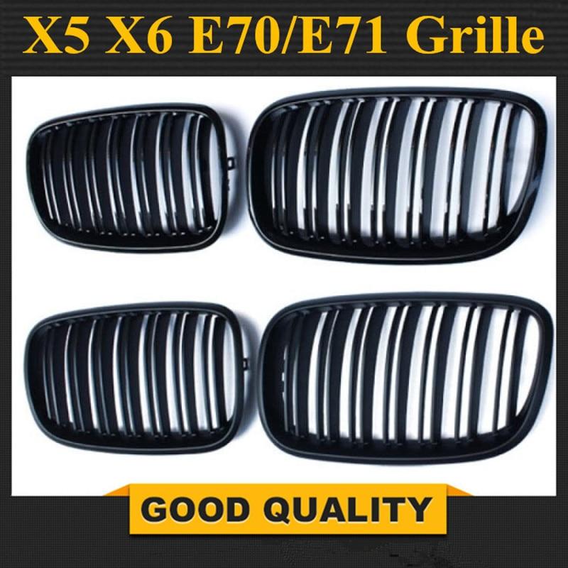 1 paire de calandre noire Double latte calandre avant pour BMW X5 Series E70 E71 modèle X5 X6 SUV M Sport XDrive 2007-2014