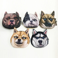 New animal Coin purse 3D printing ladies cotton wallet dog cats cartoon big face change fashion cute small zipper bag for women