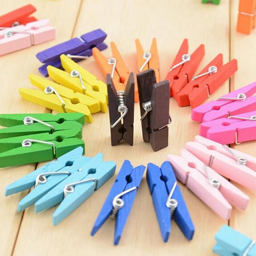 20 Pcs Multi-color Wood Clothespins Wooden Laundry Clothespins Paper Craft Clip