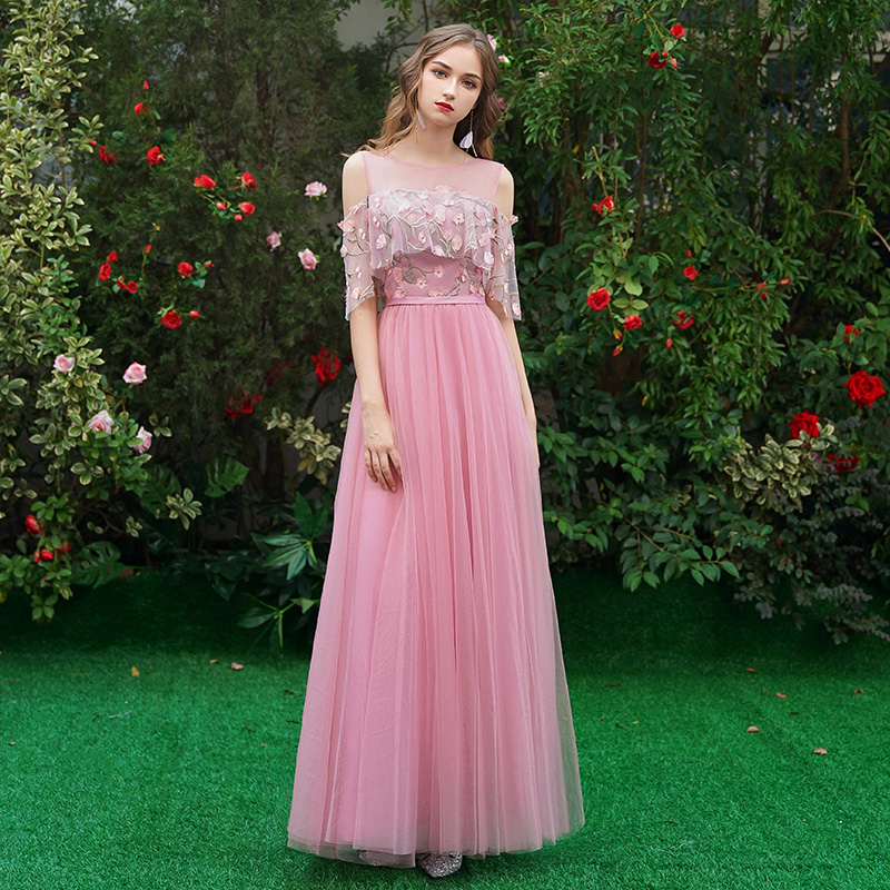 Image 4 - Beauty Emily Long Grey Bridesmaid Dresses 2019 Long for Women Sweep Train Vestidos Para Festa A line  Wedding Party Prom Dress-in Bridesmaid Dresses from Weddings & Events