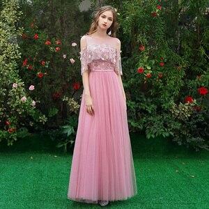 Image 4 - Schoonheid Emily Lange Grey Bruidsmeisjekleding 2020 Lange Voor Vrouwen Sweep Trein Vestidos Para Festa A lijn Wedding Party Prom Dress