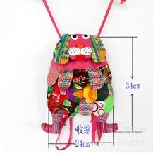 new fashion national wind leisure women Lovely personality dog doggy embroidery canvas backpack schoolbag