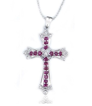 natural red ruby gem Pendant natural gemstone Retro mysterious energy cross pendant S925 silver women wedding