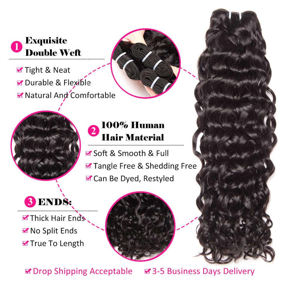 Wasser Welle Bundles Mit Verschluss Brasilianische Remy Menschliches Haar Verschluss 3Bundles Menschliches Haar Bundles Mit Frontal 13*4 ALIPOP