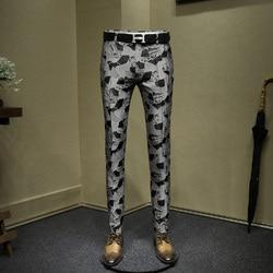 Mens jurk broek mode jacquard night club wear jonge man slim fit broek grijs zwart pak mannen casual broek 36